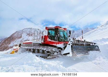 Machine for skiing slope preparations at Kaprun Austria - technology and sport background