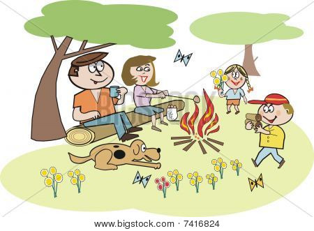 Family camping cartoon
