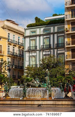 Turia Fountain in the Plaza de la Virgen - Valencia Spain