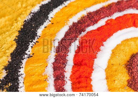 Variety of spices - food background