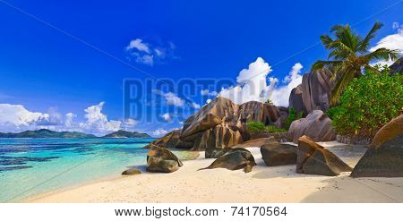 Panorama of beach Source d'Argent at Seychelles - nature background