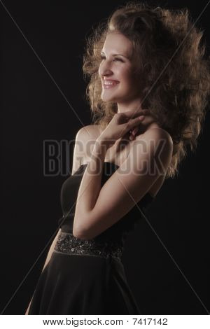 Woman Laughing In Darkness