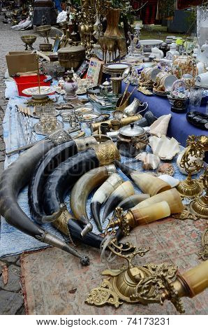 Souvenirs and retro items sold on the Dry Bridge Market with traditional drinking horns,Tbilisi