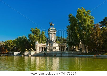Retiro Park in Madrid Spain - nature and architecture background