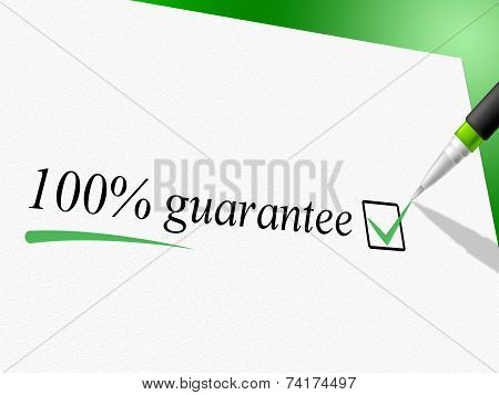 Hundred Percent Guarantee Means Pledge Guarantees And Warrantee