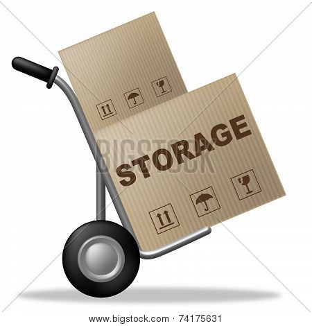 Storage Package Shows Storehouse Container And Storing