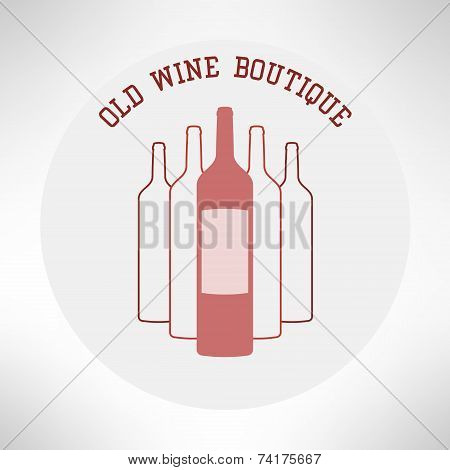 Old wine boutique shop icon flat design. Vector
