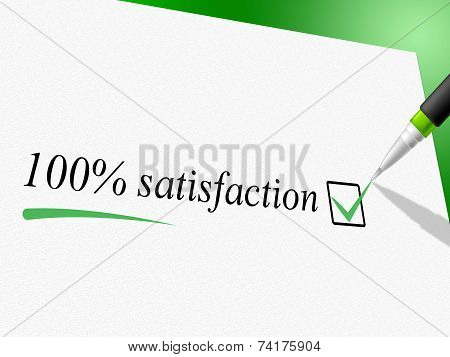 Hundred Percent Satisfaction Means Contentment Satisfied And Content