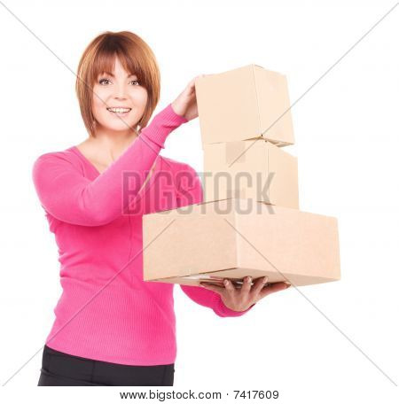 Businesswoman With Parcels