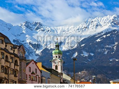Old town in Innsbruck Austria - architecture background