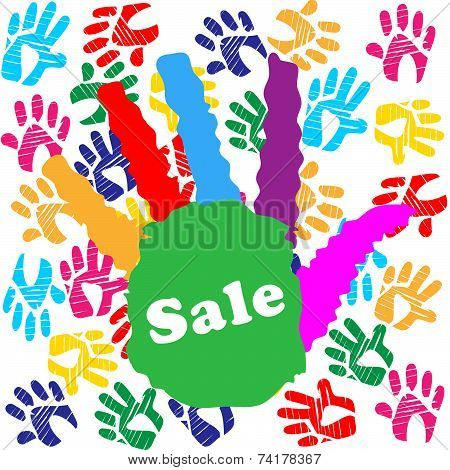 Kids Sale Shows Merchandise Multicolored And Promo