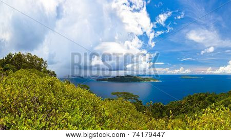Island in ocean at Seychelles - nature background