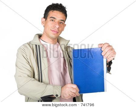 Casual Student Displaying Notebook