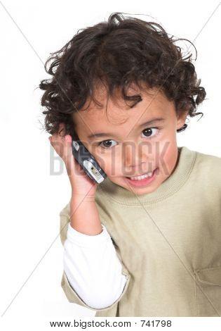 Cute Kid Talking On The Phone