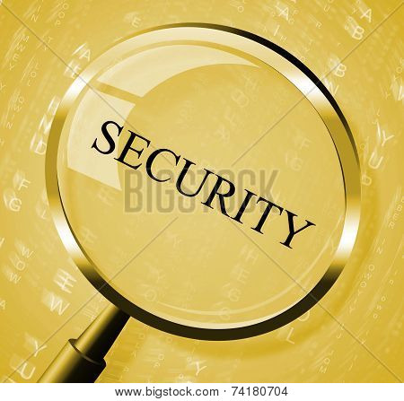 Security Magnifier Indicates Magnifying Secured And Searches