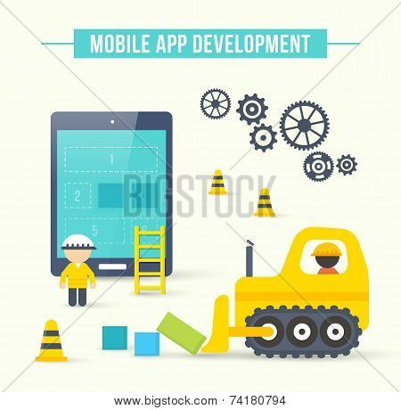 Flat style vector illustration concept of mobile app development