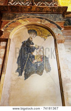 Mosaic interior in Chora Kariye church at Istanbul Turkey - architecture background