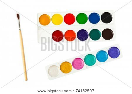 Paintbrush and paints isolated on white background