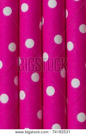 Pink White Dot Paper Straw Background