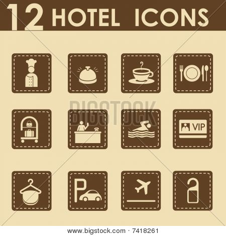 Hotel icons set in retro style
