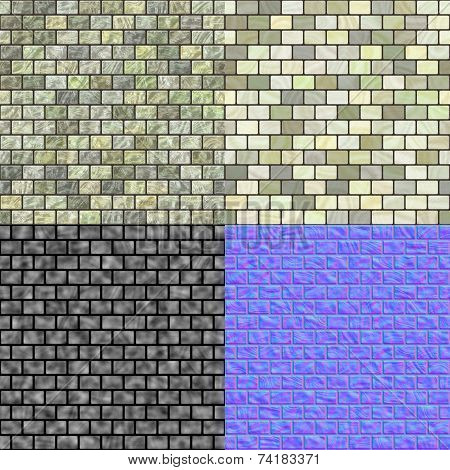 Glass Tiles Seamless Generated Texture (Diffuse, Bump Normal)