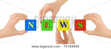 Hands and News isolated on white background