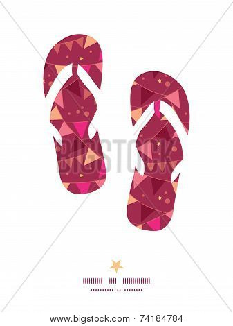 Vector christmas decorations flags flip flops silhouettes pattern frame