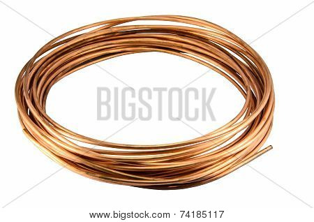 Copper Tubing Isolate On White Background