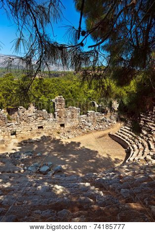 Old amphitheater Phaselis in Antalya, Turkey - archaeology background