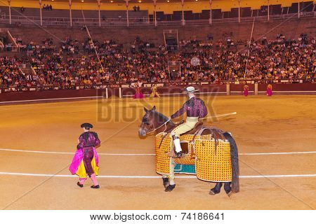 MADRID, SPAIN - SEPTEMBER 18: Matadors in bullfight on September 18, 2011 in Madrid, Spain.