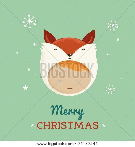 Christmas cute design greeting card background with girl fox