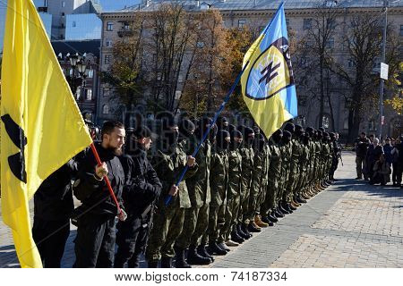 Kiev, Ukraine, October 19, 2014. Friends and relatives accompany the Battalion