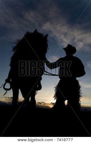 Man And Horse In Wind