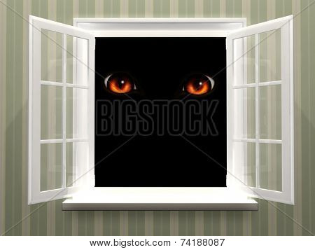 Red eyes of monster  in open window