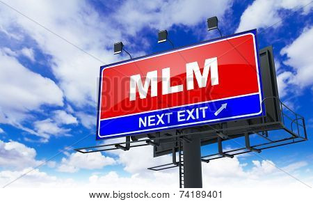 MLM Inscription on Red Billboard.