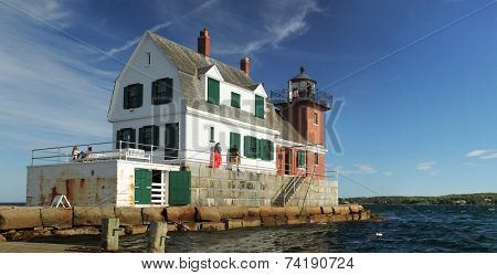 Rockland, MAINE - AUGUST 30, 2014:  Rockland breakwater lighthouse sits at the south end of a 1,300 m breakwater which protects Rockland Harbor in the state of Maine, USA.