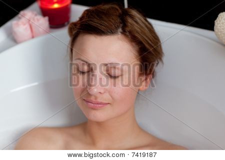 Beautiful Woman Relaxing In A Bath