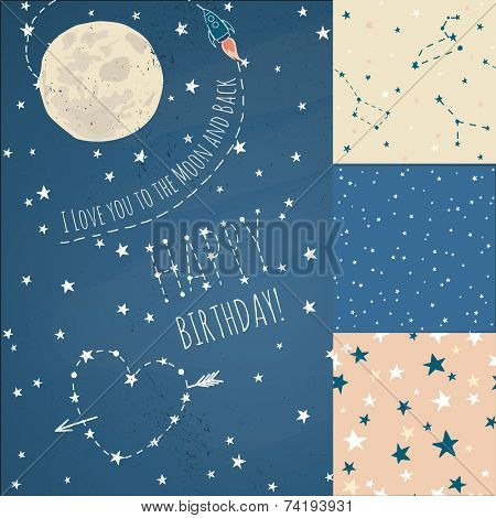 A set of Seamless constellations backgrounds, stars and night sky. Love you to the moon elements with a spaceship and a heart written in stars.