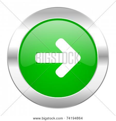 right arrow green circle chrome web icon isolated