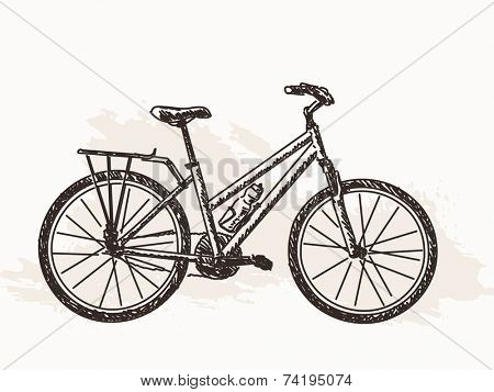 Sketch of bicycle Hand drawn illustration