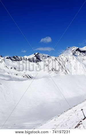 Snowy Mount At Sunshine Day