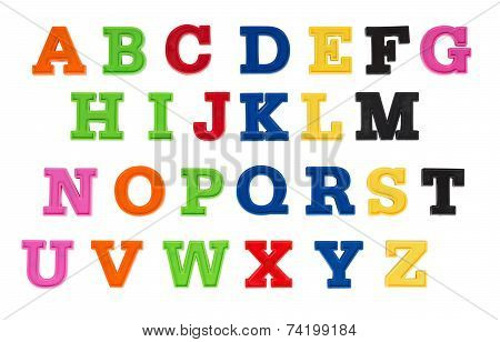 Alphabet Written In Multicolored Plastic Kids Letters