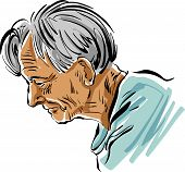 image of grey-haired  - Hand drawn old man illustration on white background - JPG