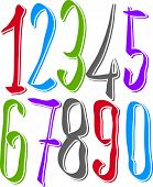 stock photo of cursive  - Calligraphic hand drawn numbers - JPG