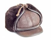 picture of budge  - Mens winter cap Leather and furisolated on white - JPG