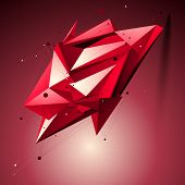 foto of spatial  - Ruby spatial technological shape polygonal wireframe object placed over shaded background - JPG