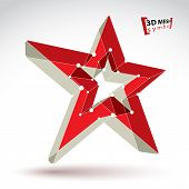 stock photo of communist symbol  - 3d mesh soviet red star sign isolated on white background colorful elegant lattice superstar icon dimensional tech USSR symbol  - JPG