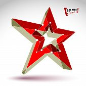 picture of communist symbol  - 3d mesh soviet red star sign isolated on white background - JPG
