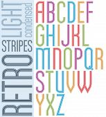 stock photo of verbs  - Poster retro striped font bright condensed geometric uppercase letters on white background - JPG