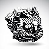 picture of isosceles  - Decorative complicated unusual eps8 figure constructed from triangles with parallel black lines - JPG